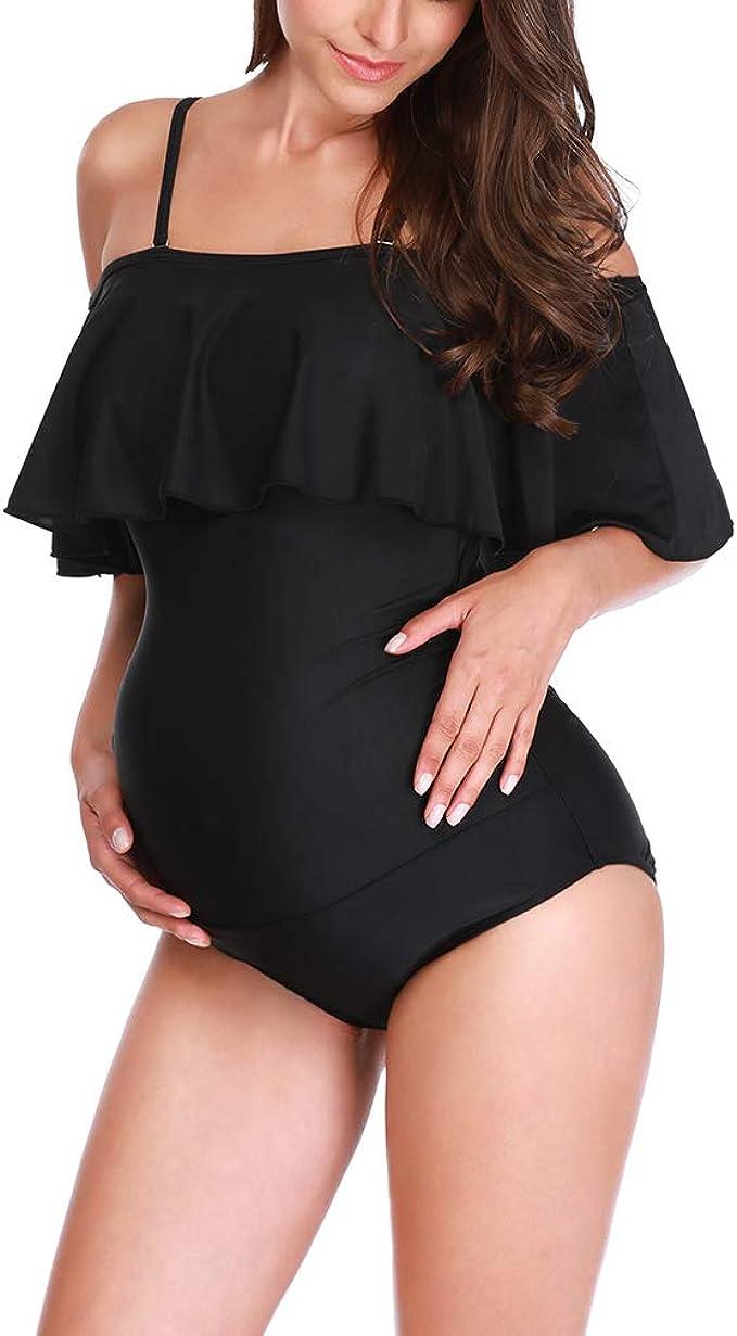 Maternidad Bañadores Embarazada Volantes Traje de Baño  Ropa de Baño Embarazo Talla Grande Ajustable