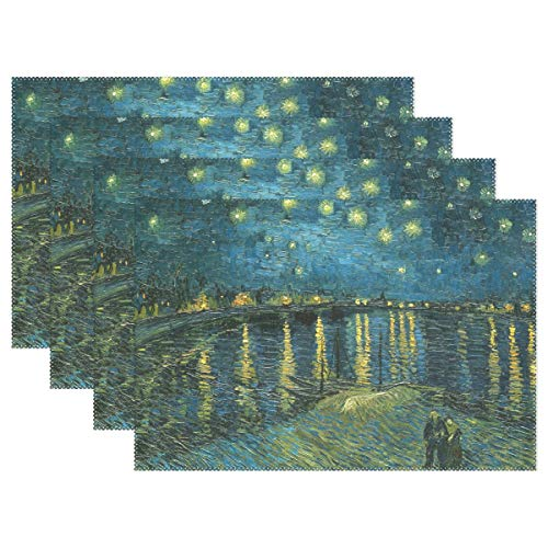 (WIHVE Placemats Set of 6, Van Gogh Starry Night Over The Rhone Holiday Non Slip Heat-Resistant Washable Polyester Table Place Mats for Kitchen Dining Table, 12