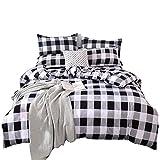 Black and White Duvet TEALP Buffalo Plaid Bedding Set Queen Size Farmhouse Duvet Cover Set No Comforter No Bed Sheet, Queen, Black and White
