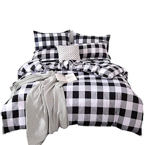 (TEALP Buffalo Plaid Bedding Set Queen Size Farmhouse Duvet Cover Set No Comforter No Bed Sheet, Queen, Black and White)