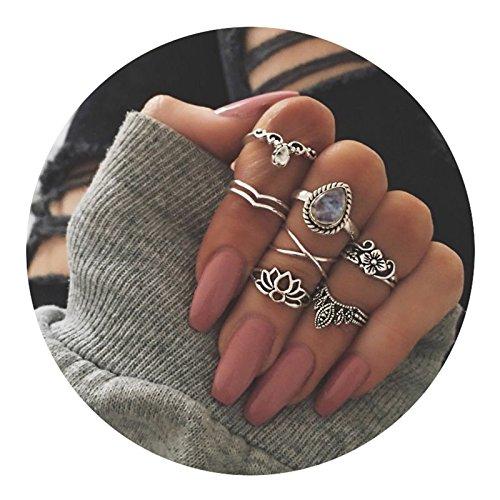 AMDXD 7 Pcs Rings Set for Women Cubic Zirconia Drop Flower Midi Ring Silver Bohemia Rings Set