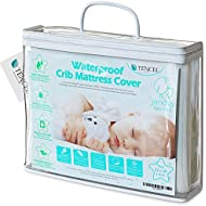 Organic Jacquard TENCEL Crib Mattress Protector Pad Waterproof Breathable Hypoallergenic Fitted Soft Padded 52X28X9inch for Baby Toddler Infant Bed Flannel White Cover Topper.