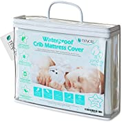 Organic TENCEL Crib Mattress Protector Pad Waterproof Breathable Hypoallergenic Jacquard Fitted Soft Padded 52x28x9 Inch for Baby Toddler Infant Bed Flannel White Cover Topper