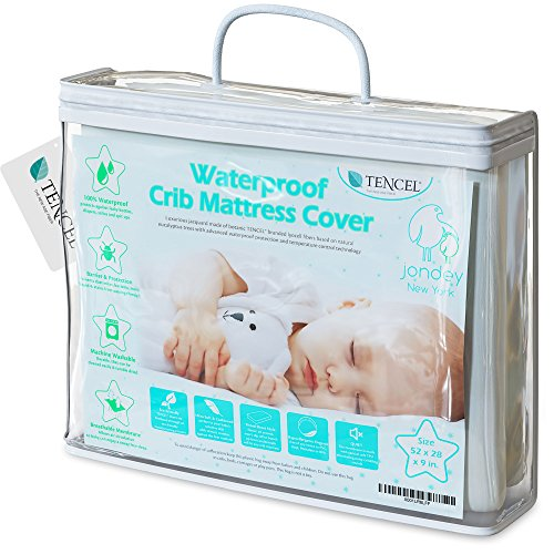 Organic TENCEL Crib Mattress Protector Pad Waterproof Breathable Hypoallergenic Jacquard Fitted Soft Padded 52x28x9 Inch for Baby Toddler Infant Bed Flannel White Cover Topper (Barrier Organic Mattress Cover)