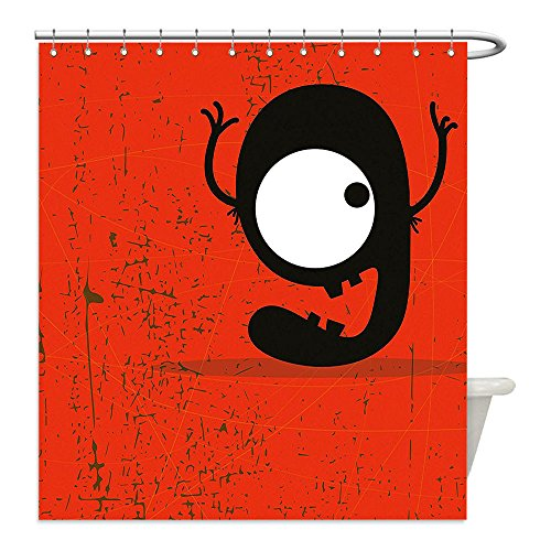 Costumes That Start With G (Liguo88 Custom Waterproof Bathroom Shower Curtain Polyester Red Decor Cartoon Style Illustration of Letter G Monster on Grunge Background Red Black and White Decorative bathroom)