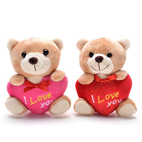 4' Plush Bear Keychain - Gloveleya 2 PCS Teddy Bear Stuffed Hold Heart