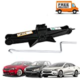 Universal Vehicle Scissor Jack Black for Spare Tire Change Repair - 2 Ton 385mm Max.