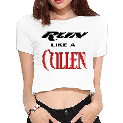 Women's Run Like A Cullen Dew Navel Personalized Tee Shirt White US Size S- Americana Collection -