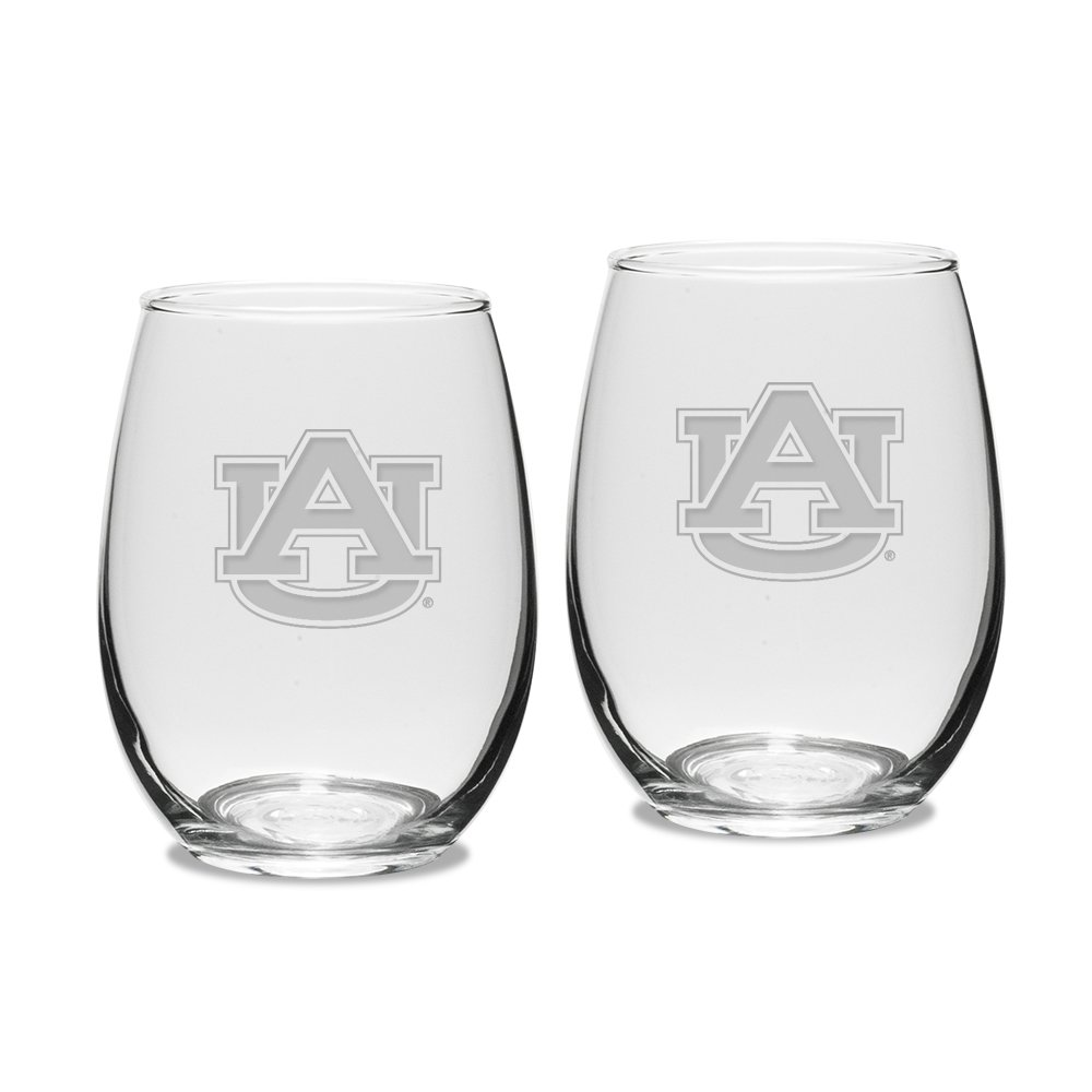 NCAA Auburn Tigers Adult Set of 2-15 oz Stemless Wine Glass Deep Etched Engraved, One Size, Clear