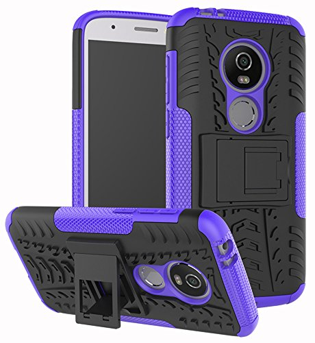 Moto E5 Play Case, Moto E5 Cruise Case, Yiakeng Dual Layer Shockproof Wallet Slim Protective with Kickstand Hard Phone Case Cover for Motorola Moto E5 Play (Purple)