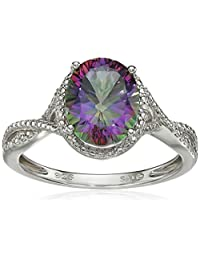 Sterling Silver Mystic Fire Topaz and Diamond-Accented Oval Ring, Size 7