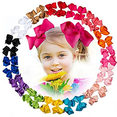 30 Pcs Baby Girl 4.5'' Ribbon Boutique Hair Bows Clips with 15 Colors in Pairs