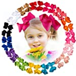 30 Pcs Baby Girl 4 5 Ribbon Boutique Hair Bows Clips with 15 Colors in Pairs
