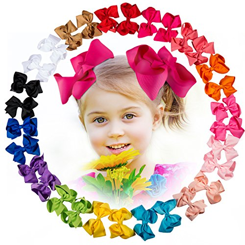 30 Pcs Baby Girl 4.5'' Ribbon Boutique Hair Bows Clips with 15 Colors in - Ribbon Fancy Girl