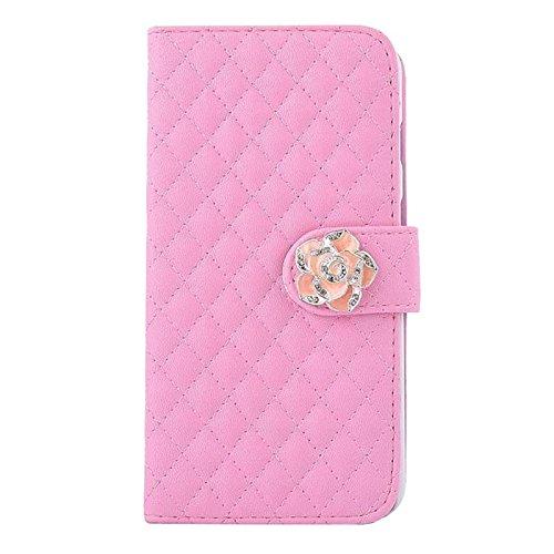 Cubierta de caja - TOOGOO(R) 3 en 1 conjunto de accesorios de multiples funciones de cuero sintetico caso protector de tiron de ranura de tarjeta de color rosado para Smartphone Samsung S6