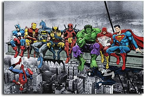 Super Heroes Poster Batman Spiderman Hulk Deadpool Lunch ATOP A Skyscraper Canvas Painting Wall Art Picture