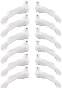 Christmas Birds Decoration, 12pcs Artificial White Doves Lifelike Foam Feather Birds Decoration Ornaments Mini Birds for Crafts, Christmas Tree, Wreath Wedding Decor, with Clips (S)