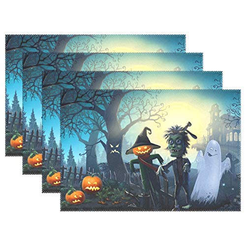 (Horror Halloween Night Scarecrow Ghost and Zombie 12x18 Inch Placemats for Kitchen Table Colorful Polyester Water Resistant Home Decor Plate Mat Set of)