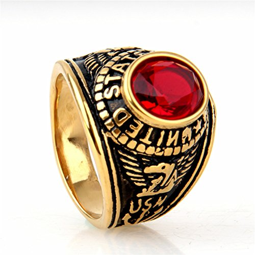 Black Navy Ring (PMTIER Men's Stainless Steel Ring United States Navy USN CZ Gemstone Band Gold Black, Red Size 8)