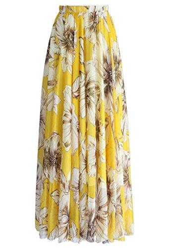 DRESSTELLS Womens Long Floral Print Maxi Chiffon Polka Dots Long Vintage Skirts