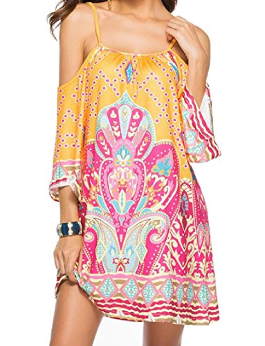 Coolred-femmes Style Folk Surdimensionné Floral Fronde Tribal Blouse Épaule Froid Plage Mini-robe 5