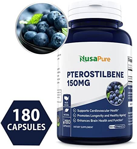 Pterostilbene 150mg 180 Caps (Non-GMO & Gluten Free) - Promotes Healthy Aging and Longevity - Better Than Resveratrol