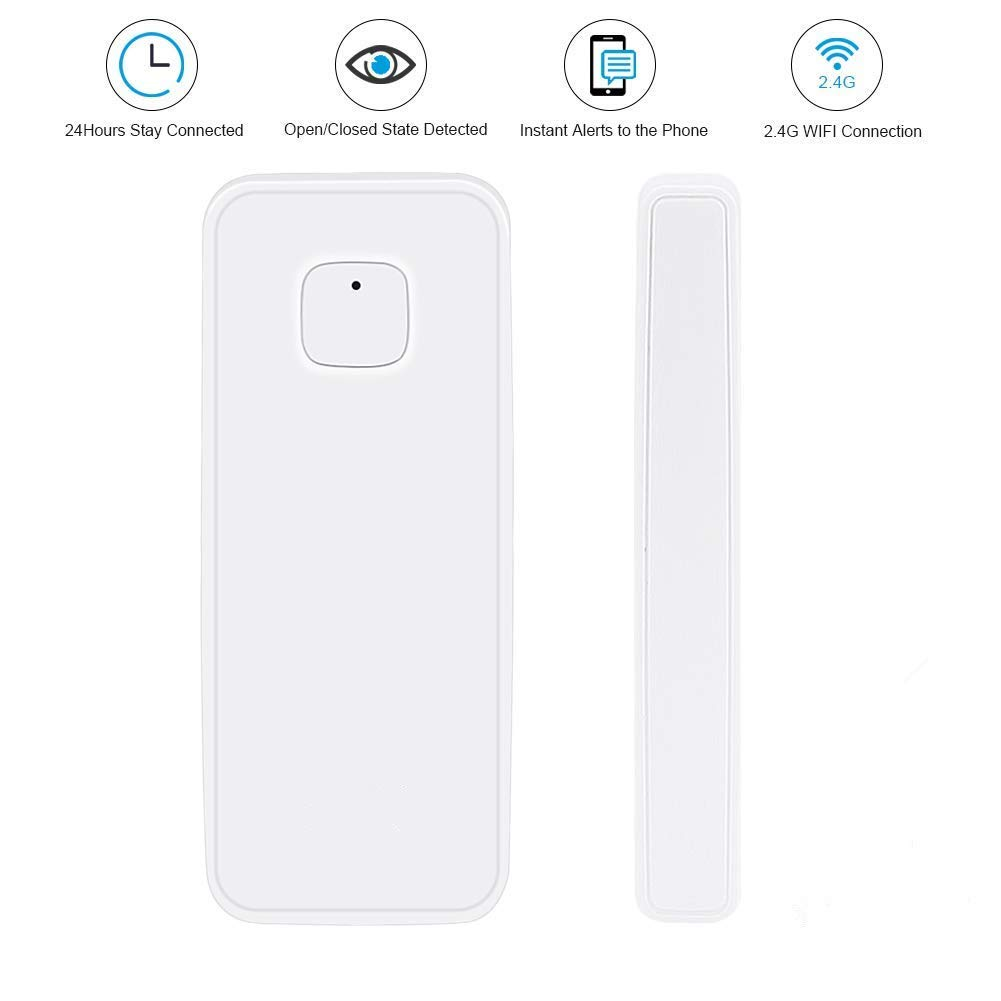 NPL Smart WiFi Door Sensor Wireless Garden Window Security Magnet Sensor with Easy App for Home Garage Farm Garden Office Compatible with Alexa Google Home ...