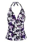 Hilor Women's Plunging V Neck Halter Swim Tops Shirred Tankini Top Purple Floral 8