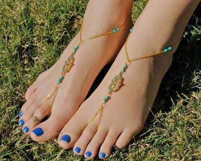 Edary Boho Fatima Hand Ankle Bracelet Beach Barefoot Sandal for Women and Girls