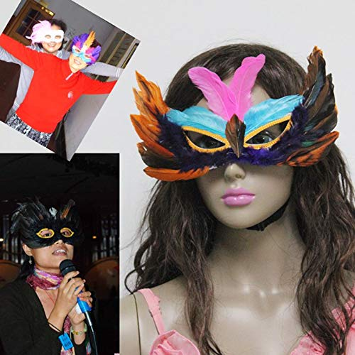 Newest DIY Party Feather Mask Sexy Women Lady Halloween Carnival Colorful Chicken Feather Venice -