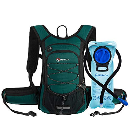 MIRACOL Hydration Backpack with 2L BPA Free Water Bladder, Thermal Insulation Pack Keeps Liquid Cool up to 4 Hours, Perfect Outdoor Gear for Hiking, Cycling, Camping, Running (Dark Green)