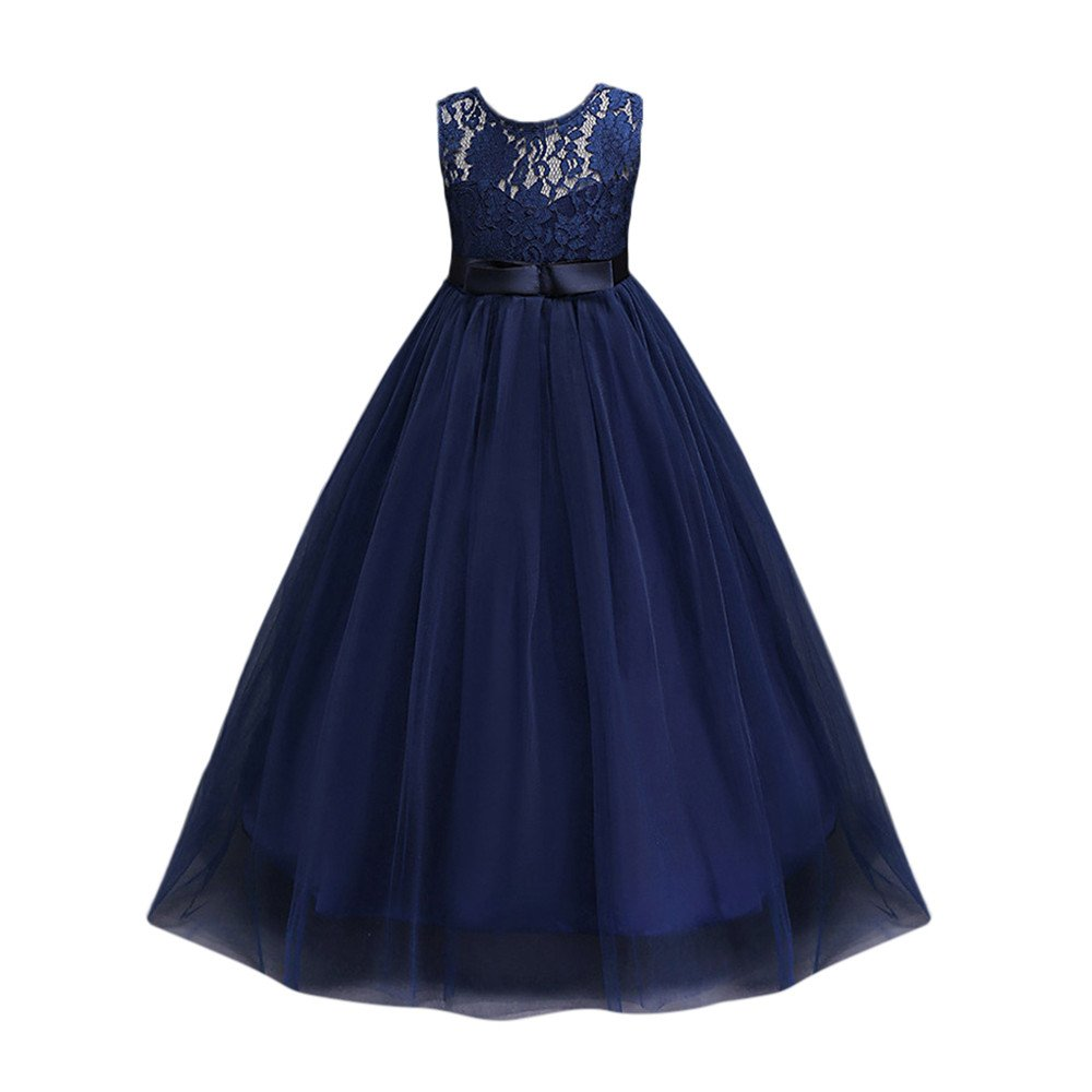 Girls Princess Lace Flower Pageant Dress Puffy Floor Length Wedding Bridesmaid Dress Party Maxi Gown(Navy,140)