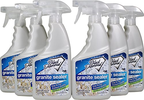 Black Diamond Stoneworks Granite Sealer: Seals & Protects, Granite, Marble, Travertine, Limestone & Concrete Counter Tops. Works Great On Grout, Fireplaces and Patios. 6 pack (With Bleach Patio Cleaning Pavers)
