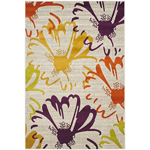 (Bright Blossoming Floral Garden Patterned Area Rug, Whimsical Tropical Flowers Themed, Rectangle Indoor Living Area Bedroom Entryway Hallway Carpet, Classic Modern Style, Yellow, Purple Size 4'1 x 6')