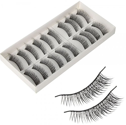 10 Pairs Pro Makeup Natural Long False Fake Eyelashes Black P32 [US Warehouse] by - Nye Warehouse