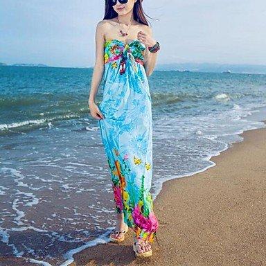 PU&PU Robe Aux femmes Ample Bohème,Fleur Sans Bretelles Maxi Polyester , blue , l