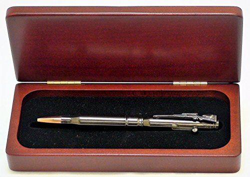 Rosewood Pen Box - Gunmetal Rifle Bullet Pen With Rosewood Gift Box