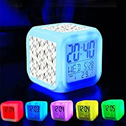 Alarm Clock 7 LED Color Changing Wake Up Bedroom with Data and Temperature Display (Changable Color) Customize the pattern-147.Abstract Triangles Background