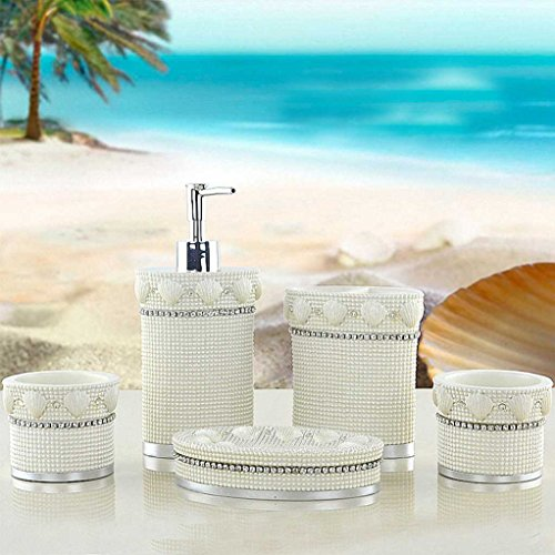 cessories set Pearl Island Design Soap Dish, Soap Dispenser, Toothbrush Holder & Tumbler Bathroom Set (Pearl Tumbler Set)