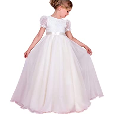 e95c2e89e Amazon.com  Angel Dress Shop First Communion Dress with Puffy Short ...