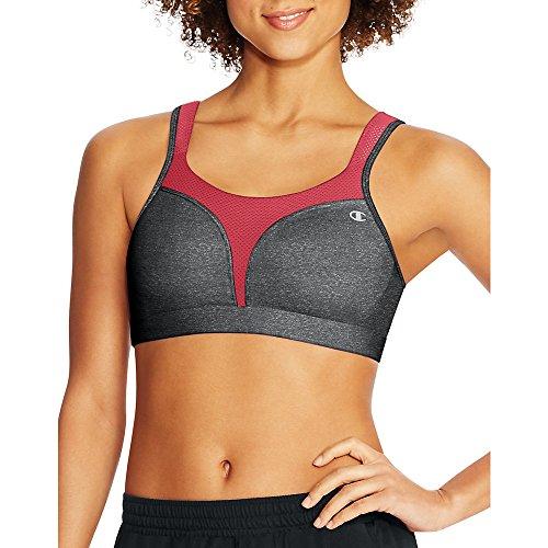 Champion Women's Spot Comfort Full Support Sports Bra, Granite Heather/Red Spark, 34DD