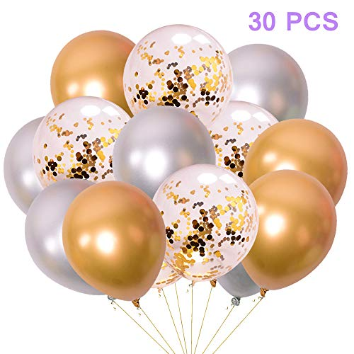 Jurxy 30 PCS Metallic Party Balloons Glossy Metal Pearl Latex Balloons 12'' with Confetti Balloon Inflatable Air Balloons for Birthdays, Bridal Shower - Gold and Silver