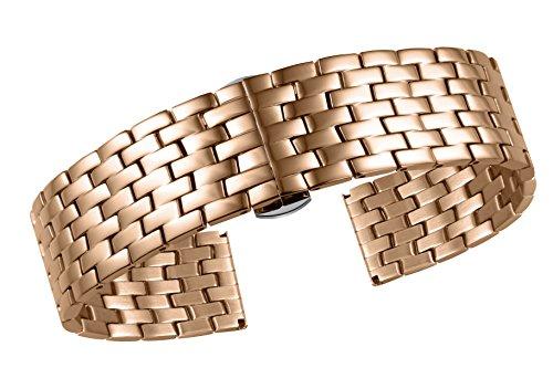 17mm 316L Stainless Steel Watch Strap Rose Gold Wrist Watch Belts Deployment Buckle