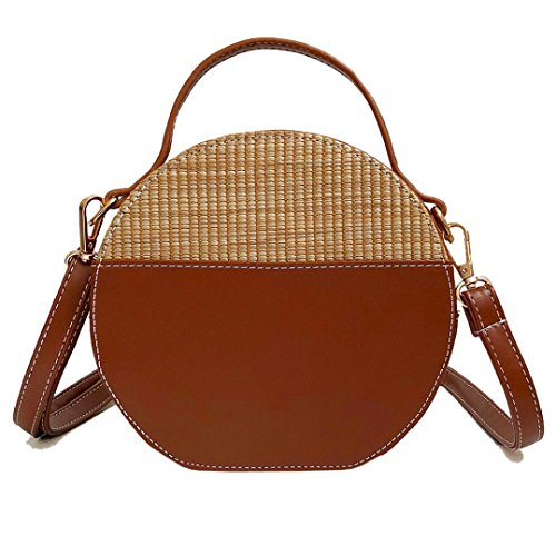Crossbody Bag,Pausseo Vintage Women Straw Barrel-Shaped Handbag Simple Weave Oval Makeup Tote Shoulder Bag Purse Clutch Handbag Coin School Student Packages Shopping Cosmetic Zipper Solid Bag (Brown)