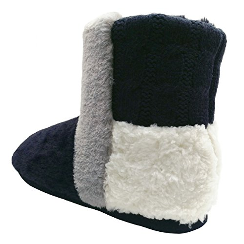 COFACE Fluffy Winter Boots Fur Lined House Blue Slipper Bootie Womens Indoor Warm 1W1Af4U