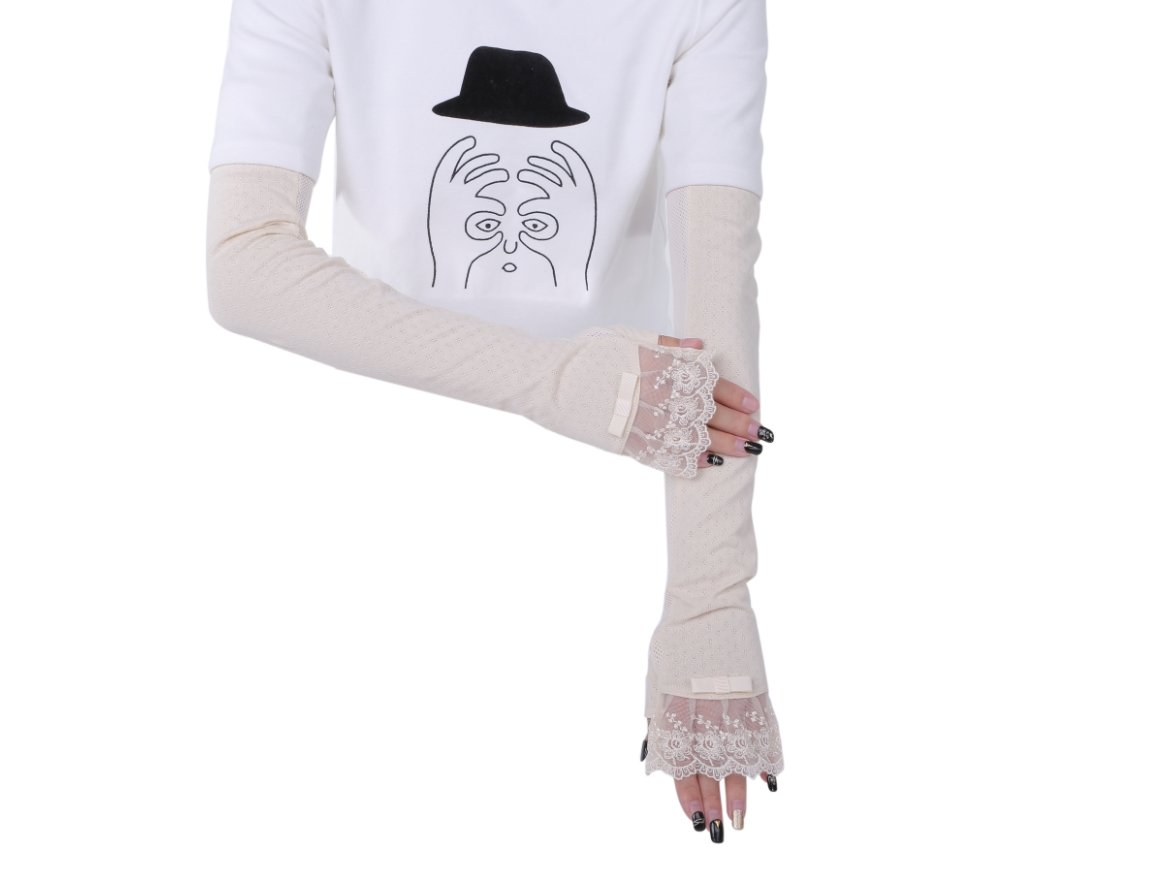 Women's Cotton UV Protective Fingerless Long Sleeve Arm Glove (Beige)