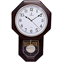 Best Pendulum Wall Clock, Silent Decorative Wood Clock with Swinging Pendulum, Battery Operated, Schoolhouse Regulator Wooden Design, For Living Room, Bathroom, Kitchen & Home Décor, 18 x 11.25""