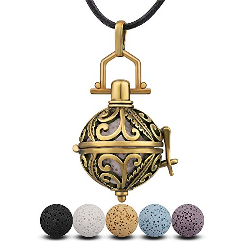 INFUSEU Antique Bronze Aromatherapy Essential Oil Diffuser Necklace Classical Brass-Tone Locket Cage Pendant with 5PCS Lava Stone Rocks and Black Wax Rope for Scented Jewelry