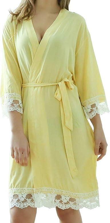 Rojeam Bata de algodón con Borde de Encaje para Mujer Corto Kimono Bata Ropa de Dormir: Amazon.es: Ropa y accesorios