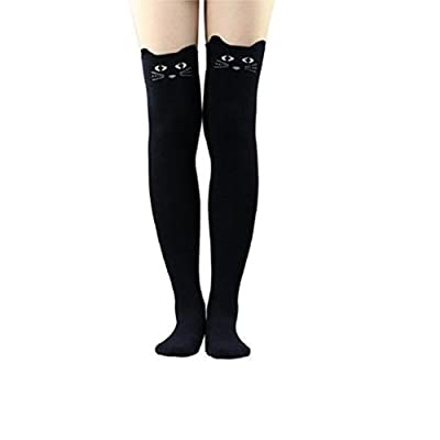 Qinlee Pas de talon Filles Longues Genou Haute Chaussettes Mignon Motif Panda, sur les Chaussettes Coton sur le Genou Haute Chaussette vintage doux chaud pour hiver femme, 50*9.5cm
